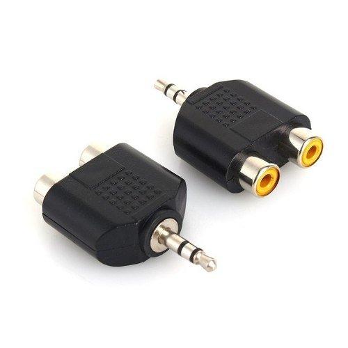 Adaptador Mini Plug 3.5 Mm Macho A 2 Rca Hembra A  Pc Tv Lcd