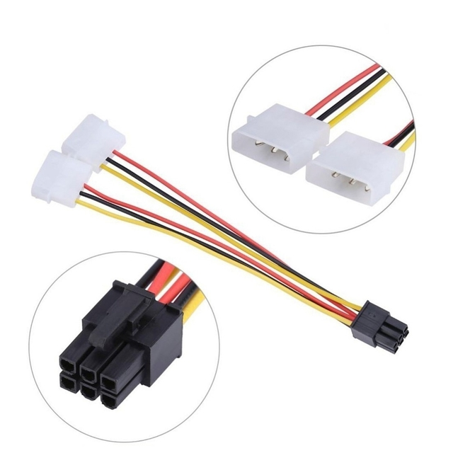 Adaptador 6 Pines A 2 Molex Para Placa Video