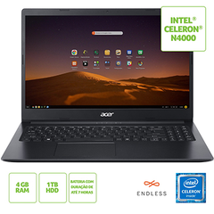 NOTEBOOK ACER 15,6 HD LED A315-34-C6ZS/ CELERON N4000/ 4GB/ 1TB/ LINUX