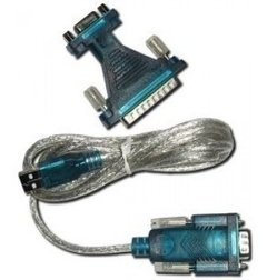 Cabo Hitto Conversor USB x Serial DB9 RS232 (M) 1,80mts + Adaptador DB9 (F) Xdb25 (M)