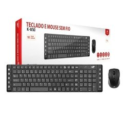 Kit Teclado e Mouse C3Tech K-W50BK Wireless Multimídia Preto