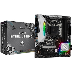 Placa Mãe AsRock B450M Steel Legend (AM4/DDR4/HDMI/DisplayPort/M.2/USB 3.1/CrossFireX/RGB)
