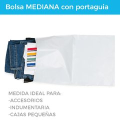 BOLSA E-COMMERCE MEDIANA C/PORTAGUIA x100 (28X44+5) -  RECICLABLE - Paketin