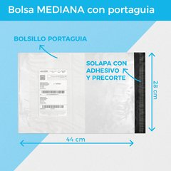 BOLSA E-COMMERCE MEDIANA C/PORTAGUIA x100 (28X44+5) -  RECICLABLE en internet