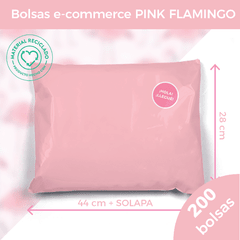 BOLSA E-COMMERCE PINK FLAMINGO x200 (28X44+5) - SUSTENTABLE