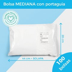 BOLSA E-COMMERCE MEDIANA C/PORTAGUIA x100 (28X44+5) -  RECICLABLE