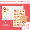 "100 BOLSAS E-COMMERCE MEDIANAS + 100 STICKERS ""EMOJI LOVE"""