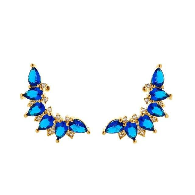 Brinco Ear Cuff Azul Zircônia Folheado a Ouro 18k 3d5521910e