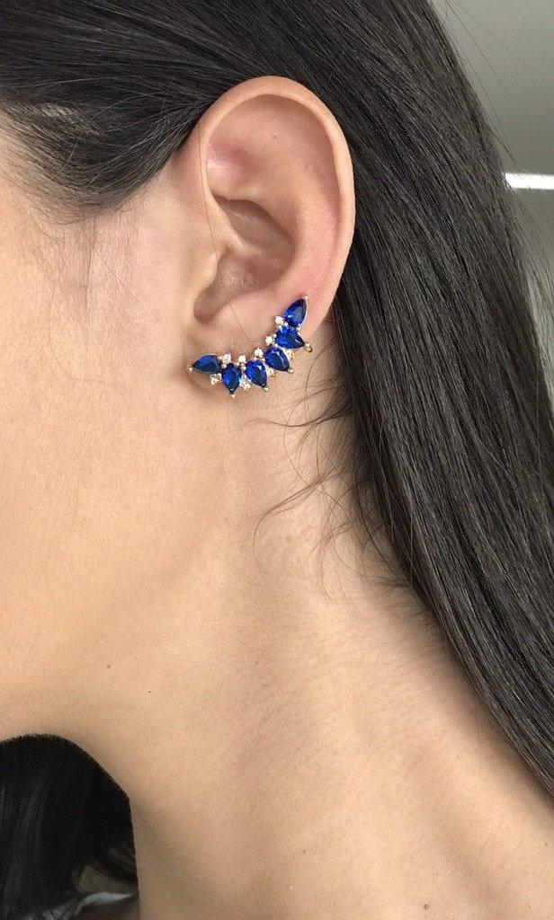 ... Brinco Ear Cuff Azul Zircônia Folheado a Ouro 18k - comprar online cb5332126b