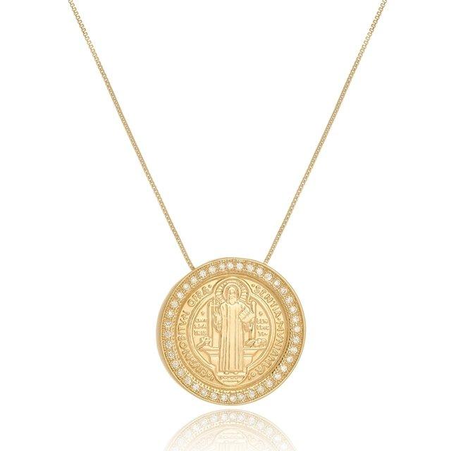 6602c6b1b83ab Colar Com Medalha De São Bento Com Zirconia Folheado a Ouro 18k