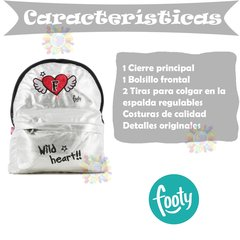 Mochila Footy fty2003 13' Brillo Fashion Escuela Corazon Alas Gris