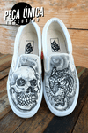 TÊNIS VANS EXCLUSIVO CUSTOMIZADO - SKULL `N TIGER