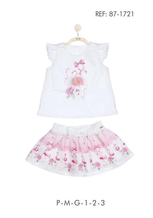35fb8f064022aa Conjunto PUPI infantil bata com pompom rosa e short-saia estampado