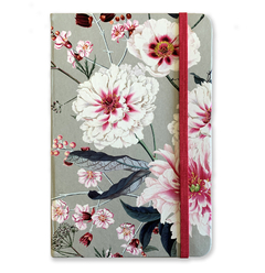 Notebook Large - Floral with Gray Background - measure 14x21cm