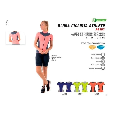Blusa Ciclista MC Athlete Azul Royal Feminino - Sol Sports na internet