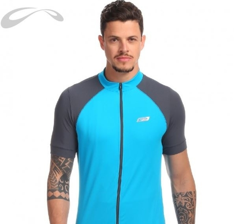 Blusa Ciclista MC Luminous Light Azul Turquesa Masculino - Sol Sports
