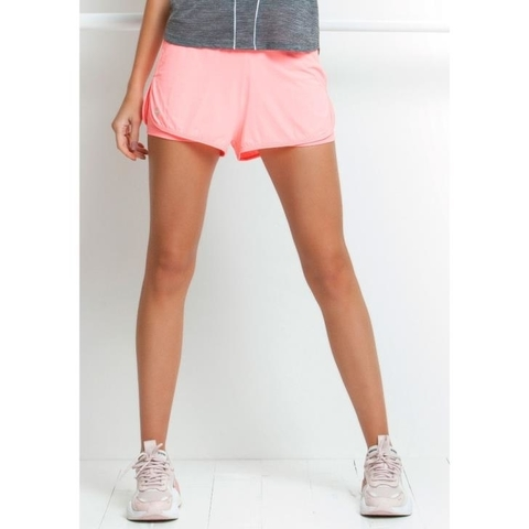 Short Duplo Ultracool Fit Rosa Fluor - Rola Moça