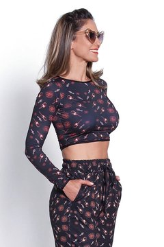 Biquini top cropped em lycra Rock'n Roll