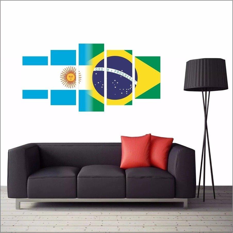 ec17cb2c88c6c Quadro Decorativo Bandeiras Argentina X Brasil Para Pendurar