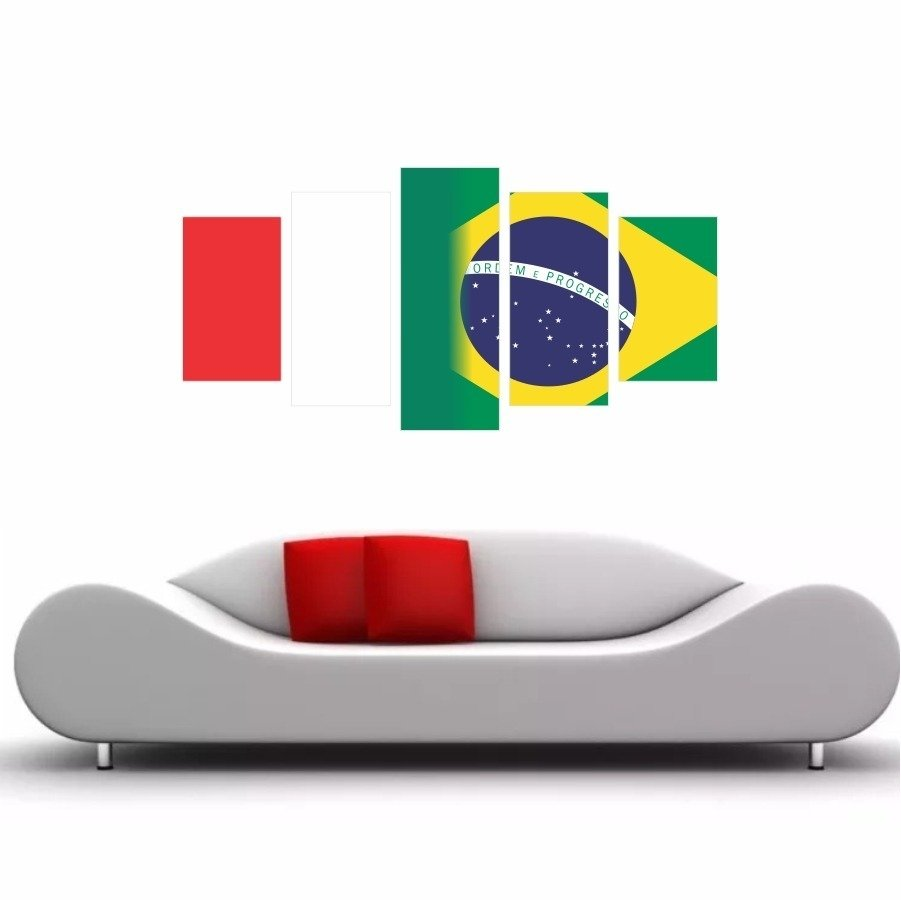 f482198bbbe19 Quadro Decorativo Bandeira Itália X Brasil 200x100