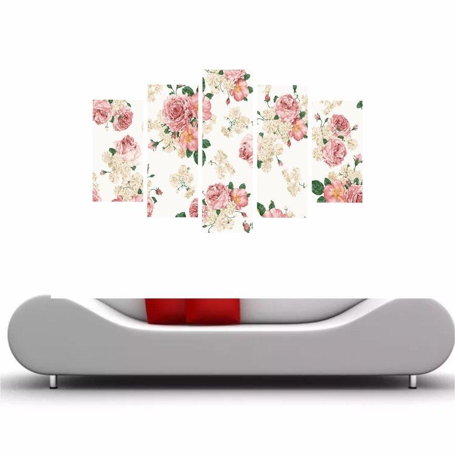 91b13fd99 Quadro Decorativo Flores Rosas Fundo Branco