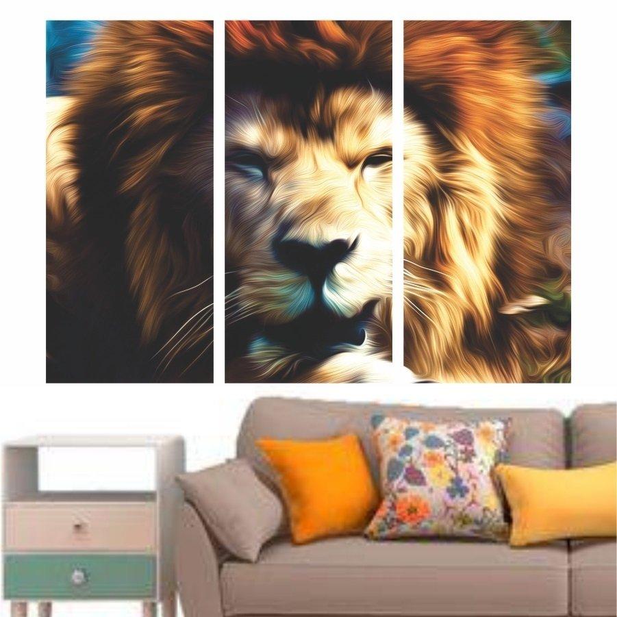 ad4680191 Quadro Decorativo Leão Moderno Mosaico Em Tecido