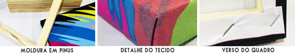 Quadros em tecido, acabamento simples e perfeito da Quadros Mais.
