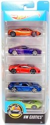 Kit 5 carrinhos - Hot Wheels - HW Exotics - DVF95