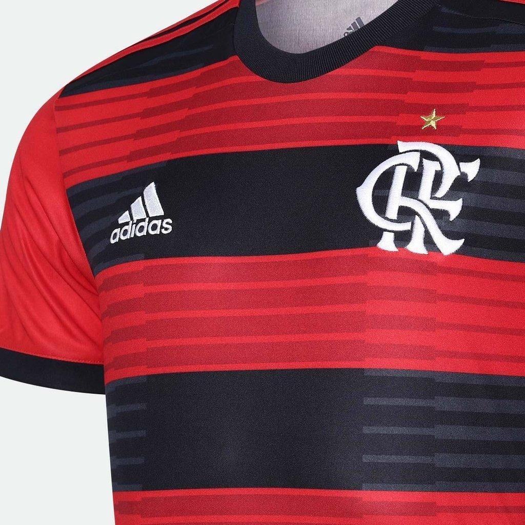 8feda0a067 Camisa Flamengo I 2018 s/n° Torcedor Adidas Masculina - Vermelho e Preto