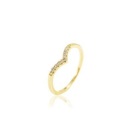 489b92a2605 Anel Aliança com Microzirconia Completa no Dourado com Cristal