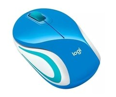 Mouse Wireless Logitech Mini M187 Azul Receptor Nano Usb