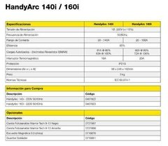 Soldadora Inverter Handy Arc 140 A - Esab Conarco en internet
