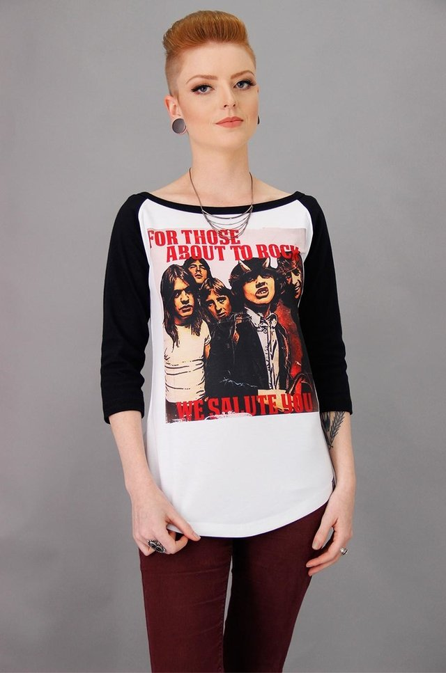 AC/DC FOR THOSE ABOUT TO ROCK RAGLAN 3/4 FEMININA na internet