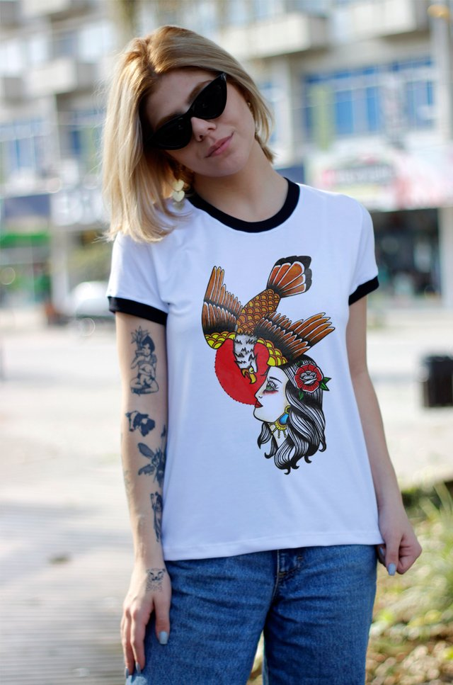 CAMISETA WOMAN AND EAGLE BLUSA RINGER FEMININA