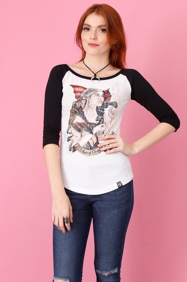 GAME OF THRONES - MOTHER OF DRAGONS RAGLAN 3/4 FEMININA atacado na internet