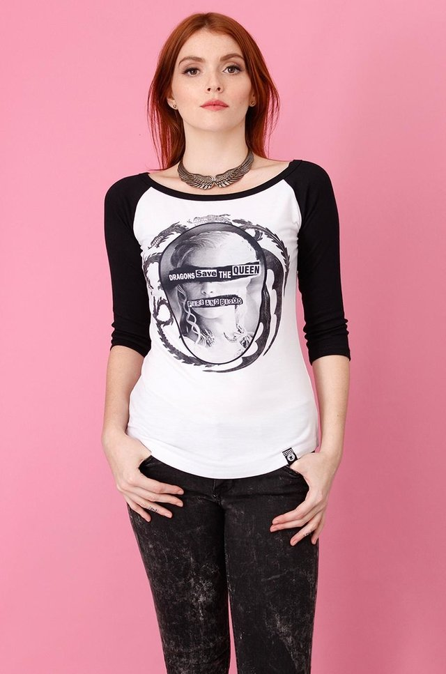 GAME OF THRONES - DRAGONS SAVE THE QUEEN RAGLAN 3/4 FEM na internet