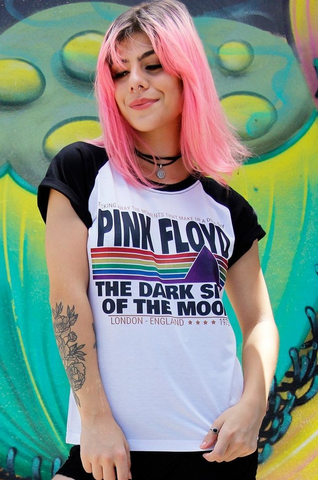 CAMISETA PINK FLOYD THE DARK SIDE RAGLAN FEMININA
