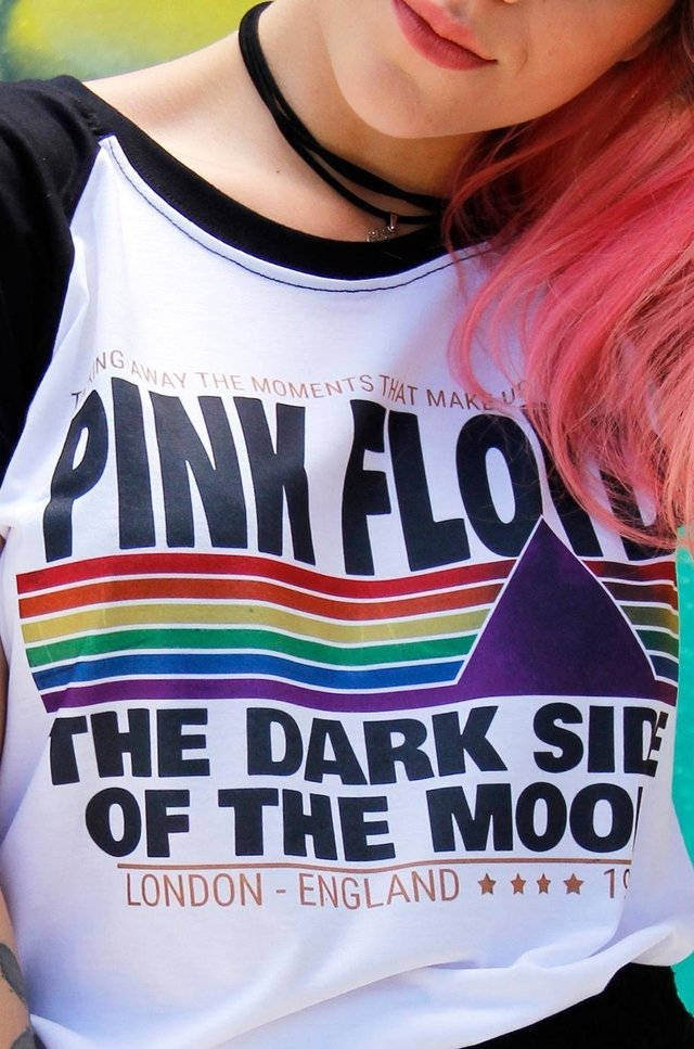 CAMISETA PINK FLOYD THE DARK SIDE RAGLAN FEMININA - comprar online