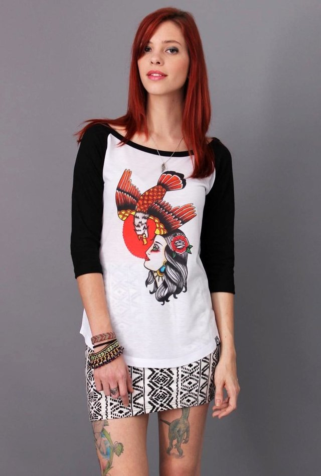 CAMISETA WOMAN AND EAGLE RAGLAN 3/4 FEMININA atacado