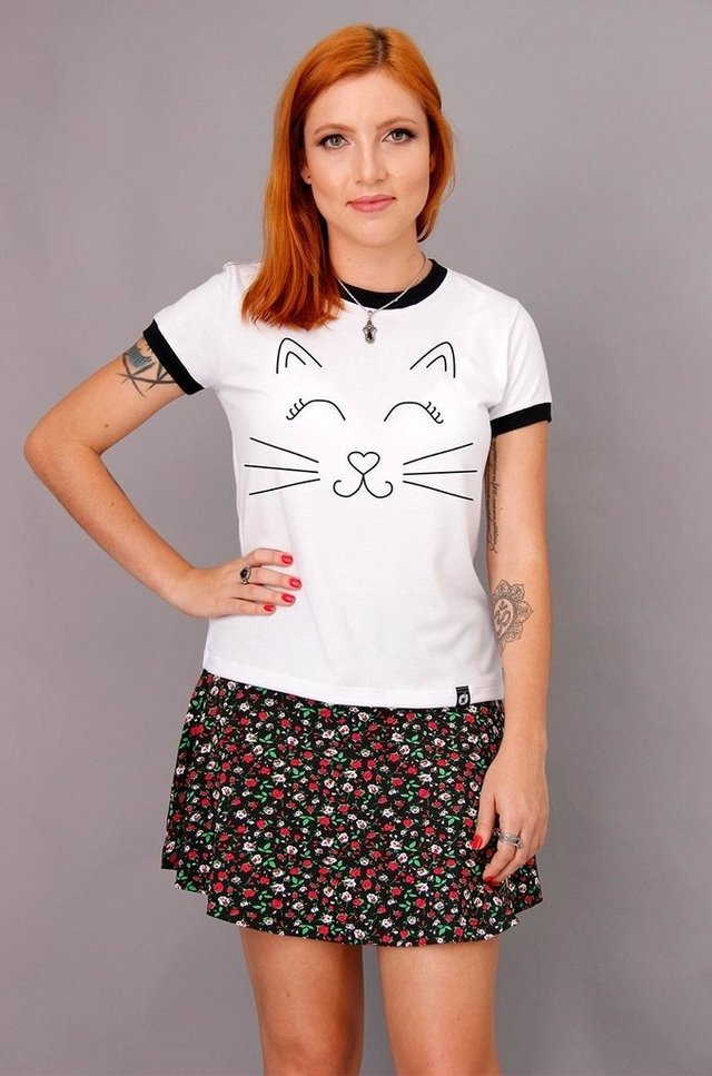 CAT SMILE RINGER TEE atacado na internet