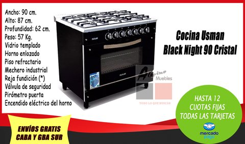 Cocina Usman Black Night 90 Cristal - Red Wine 90