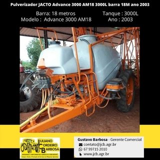Pulverizador JACTO Advance 3000 AM18  3000L barra 18M ano 2003 - JACTO