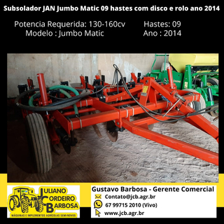 Subsolador JAN Jumbo Matic 09 hastes com disco e rolo ano 2014 - JAN
