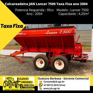 Calcareadeira JAN Lancer 7500 Taxa Fixa ano 2004 - JAN