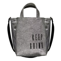 Bolso Keep Going -Plateado & bordado Negro