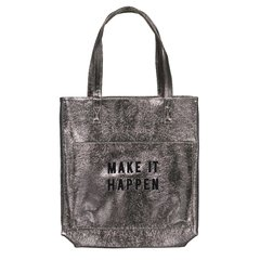 Bolso MAKE IT HAPPEN - Plateado & bordado Negro - 30 días de producción - comprar online