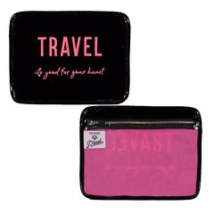 Porta Documentos TRAVEL (Charol Negro & Fucsia)