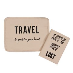 TRAVEL KIT: Porta Documentos TRAVEL  + Porta pasaporte LETS GET LOST (Rosado & Negro) AGOTADO - PRE ORDER 20-30 Días.