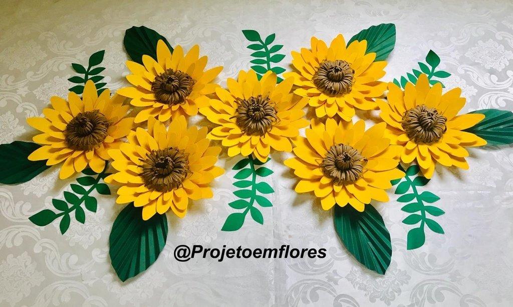 Decoraç u00e3o girassol flores de papel Projeto em Flores -> Decoracao De Girassol Para Aniversario