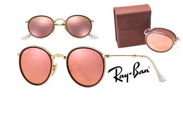 c285d7f040c0f Óculos de Sol réplica premium Ray Ban Round Dobrável - Rose